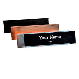 Document Solutions offers laser engraved desk name plates in four color options, and holders in three color options.