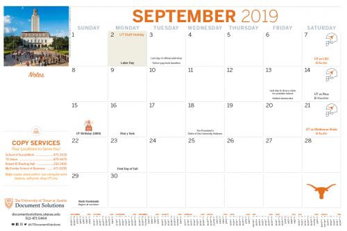 University Of Texas Calendar 2019 Document Solutions | The University of Texas at Austin