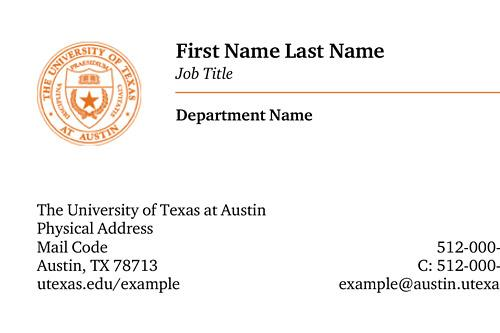 UT business card example