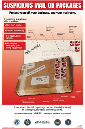 suspicious mail and packages poster